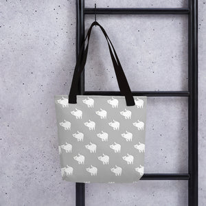Cute Cat Pattern | Light Grey and White | Tote Bag-tote bags-Eggenland