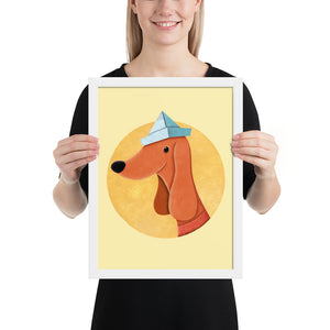 Dog With Newspaper Hat | Yellow | Illustration | Framed Poster-framed posters-White-12×16-Eggenland