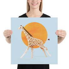 Load image into Gallery viewer, Giraffe and Sun | Blue | Poster-posters-18×18-Eggenland