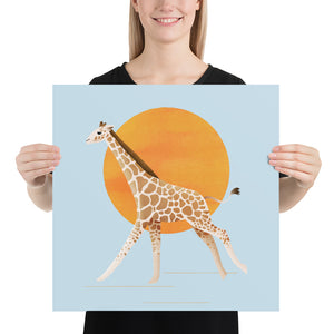 Giraffe and Sun | Blue | Poster-posters-18×18-Eggenland