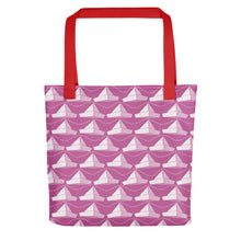 Load image into Gallery viewer, Newspaper Hats Pattern | Pink | Tote Bag-tote bags-Red-Eggenland