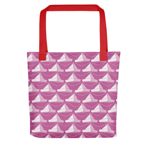 Newspaper Hats Pattern | Pink | Tote Bag-tote bags-Red-Eggenland