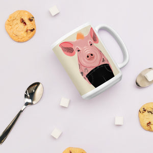 Cool Pig With Tattoos | Beige | Mug-mugs-Eggenland