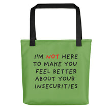 Load image into Gallery viewer, Insecurities | Green | Tote Bag-tote bags-Black-Eggenland