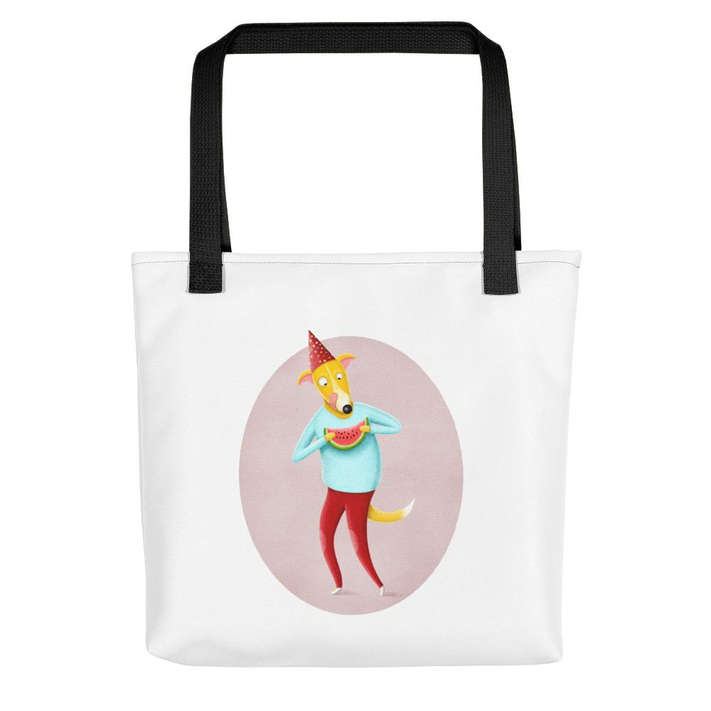 Dog with Watermelon | Tote Bag-tote bags-Black-Eggenland