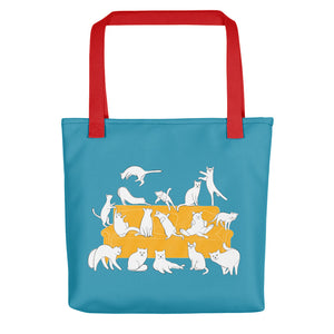 Cats Party | Blue | Tote Bag-tote bags-Red-Eggenland