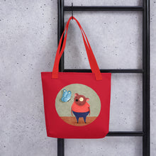 Load image into Gallery viewer, Bear and Butterfly | Red | Tote Bag-tote bags-Eggenland
