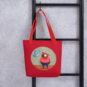 Bear and Butterfly | Red | Tote Bag-tote bags-Eggenland