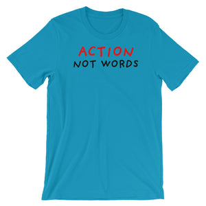Action Not Words | Short-Sleeve Unisex T-Shirt-t-shirts-Aqua-S-Eggenland