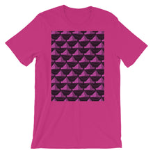 Load image into Gallery viewer, Paper Hats Pattern | Dark Pink | Short-Sleeve Unisex T-Shirt-t-shirts-Berry-S-Eggenland