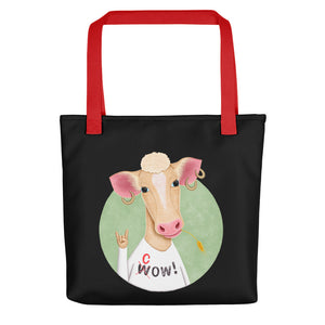 Wow Cow | Black | Tote Bag-tote bags-Red-Eggenland