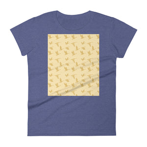 Flying Birds Pattern | Yellow | Women's Short-Sleeve T-Shirt-t-shirts-Heather Blue-S-Eggenland