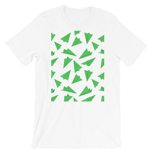 Paper Planes Pattern | Green | Short-Sleeve Unisex T-Shirt-t-shirts-White-M-Eggenland