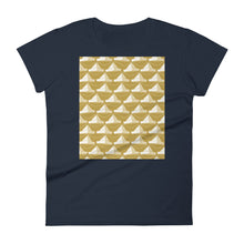 Load image into Gallery viewer, Paper Hats Pattern | Golden | Women's Short-Sleeve T-Shirt-t-shirts-Navy-S-Eggenland