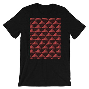 Paper Hats Pattern | Dark Red | Short-Sleeve Unisex T-Shirt-t-shirts-Black Heather-S-Eggenland