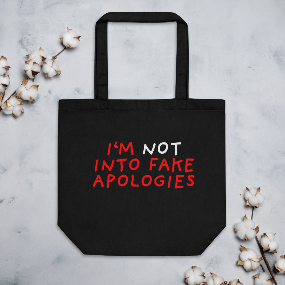 Fake Apologies | Eco Tote Bag-tote bags-Black-Eggenland