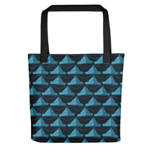 Load image into Gallery viewer, Newspaper Hats Pattern | Dark Blue | Tote Bag-tote bags-Black-Eggenland