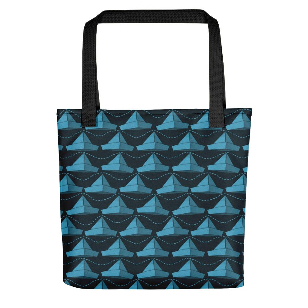 Newspaper Hats Pattern | Dark Blue | Tote Bag-tote bags-Black-Eggenland
