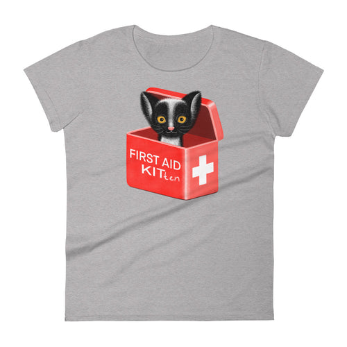 First Aid Kitten | Women's Short-Sleeve T-Shirt-t-shirts-Heather Grey-S-Eggenland