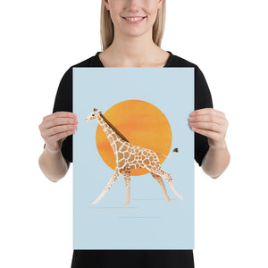 Giraffe and Sun | Blue | Poster-posters-12×18-Eggenland