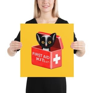 First Aid Kitten | Illustration | Yellow | Poster-posters-16×16-Eggenland