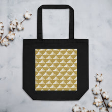 Load image into Gallery viewer, Newspaper Hats Pattern | Golden | Eco Tote Bag-tote bags-Black-Eggenland
