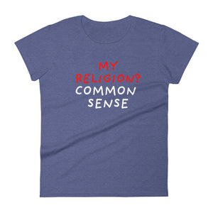 Common Sense | Women's Short-Sleeve T-Shirt-t-shirts-Heather Blue-S-Eggenland