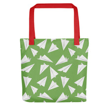 Load image into Gallery viewer, Paper Planes Pattern | Green and White | Tote Bag-tote bags-Red-Eggenland