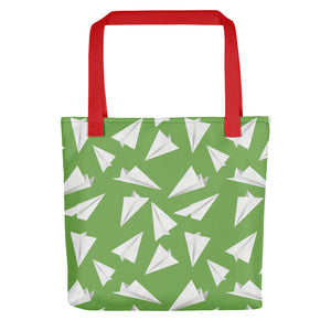 Paper Planes Pattern | Green and White | Tote Bag-tote bags-Red-Eggenland