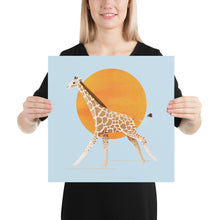 Load image into Gallery viewer, Giraffe and Sun | Blue | Poster-posters-16×16-Eggenland