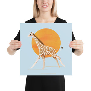 Giraffe and Sun | Blue | Poster-posters-16×16-Eggenland