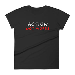 Action Not Words | Women's Short-Sleeve T-Shirt-t-shirts-Black-S-Eggenland