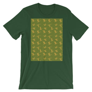 Flying Birds Pattern | Green | Short-Sleeve Unisex T-Shirt-t-shirts-Forest-S-Eggenland