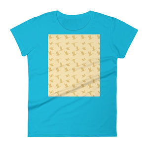 Flying Birds Pattern | Yellow | Women's Short-Sleeve T-Shirt-t-shirts-Caribbean Blue-S-Eggenland