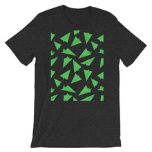 Load image into Gallery viewer, Paper Planes Pattern | Green | Short-Sleeve Unisex T-Shirt-t-shirts-Dark Grey Heather-M-Eggenland