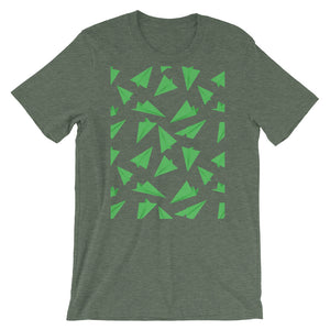Paper Planes Pattern | Green | Short-Sleeve Unisex T-Shirt-t-shirts-Heather Forest-S-Eggenland