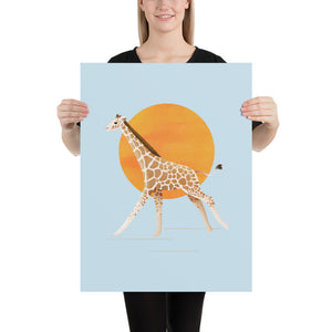 Giraffe and Sun | Blue | Poster-posters-18×24-Eggenland