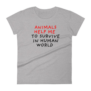 Animals Help Me | Women's Short-Sleeve T-Shirt-t-shirts-Heather Grey-S-Eggenland