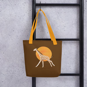 Giraffe and Sun | Brown | Tote Bag-tote bags-Eggenland