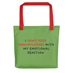 Don't Feed Manipulators | Green | Tote Bag-tote bags-Red-Eggenland