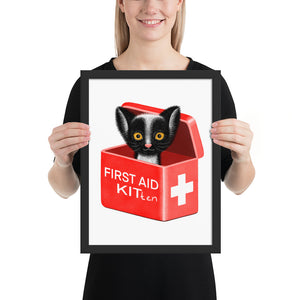 First Aid Kitten | Illustration | Framed Poster-framed posters-Black-12×16-Eggenland