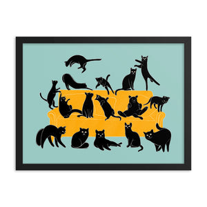 Black Cats Party | Blue | Illustration | Framed Poster-framed posters-Eggenland