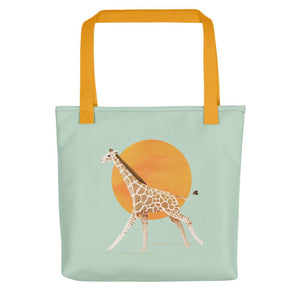 Giraffe and Sun | Light Green | Tote Bag-tote bags-Yellow-Eggenland