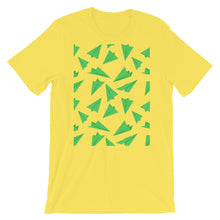 Load image into Gallery viewer, Paper Planes Pattern | Green | Short-Sleeve Unisex T-Shirt-t-shirts-Yellow-S-Eggenland