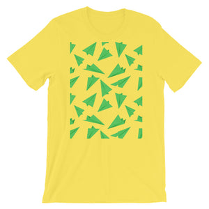Paper Planes Pattern | Green | Short-Sleeve Unisex T-Shirt-t-shirts-Yellow-S-Eggenland