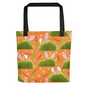 Rabbits and Carrots | Orange | Tote Bag-tote bags-Black-Eggenland