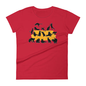 Black Cats Party | Women's Short-Sleeve T-Shirt-t-shirts-Red-S-Eggenland