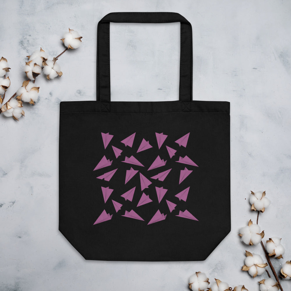 Paper Planes Pattern | Pink | Eco Tote Bag-tote bags-Black-Eggenland