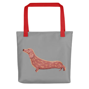 Cute Dachshund Dog | Grey | Tote Bag-tote bags-Red-Eggenland