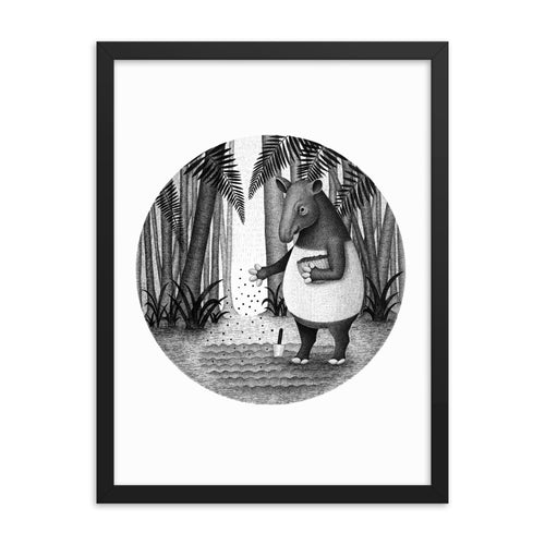 Tapirs Are Gardeners of Forest | Illustration | Framed Poster-framed posters-Eggenland